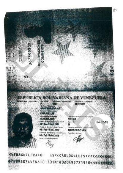 Pasaporte que adjuntó el exjefe del espionaje venezolano a la BPA para abrir su cuenta en 2009.