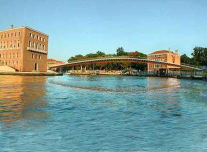 Composición fotográfica del puente de Calatrava en Venecia.