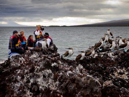 Turistas en la isla Isabela, en Galápagos, antes de la pandemia de la covid-19.