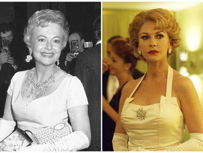 A la izquierda, Olivia de Havilland en 1968, a la derecha Catherine Zeta-Jones interpretando a De Havilland en 'Feud'.