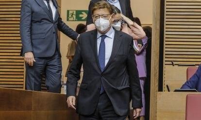 El presidente de la Generalitat, Ximo Puig, a su llegada a un pleno de las Cortes valenciana.