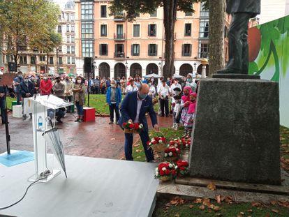 Andoni Ortuzar, presidente del PNV, en el acto de 126.º aniversario de su formación este sábado en Bilbao.
