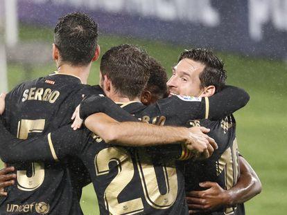 Messi festeja junto a sus compañeros el segundo gol ante el Celta.