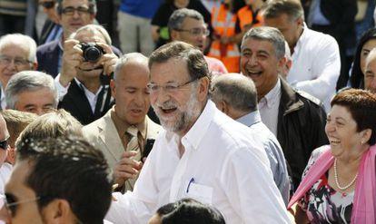 Rajoy en Portomarín (Lugo) donde ha sido nombrado Caballero de la Real Orden Serenísima de la Alquitara.
