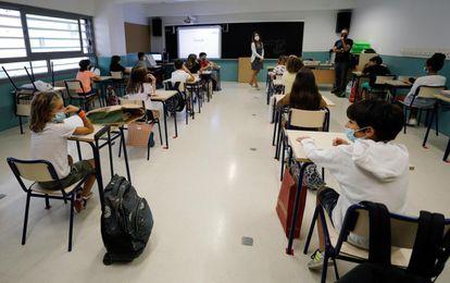 Una clase del colegio público Santa Teresa, en Valencia, en septiembre.