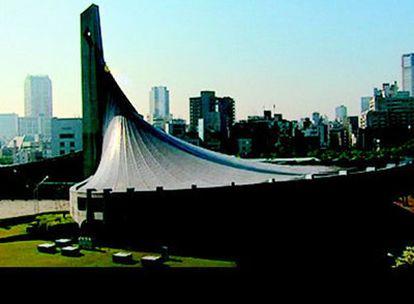 Una vista de los Gimnasios Olímpicos de Yoyogi, de Kenzo Tange.