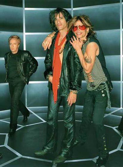 Miembros del grupo estadounidense de rock Aerosmith.