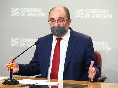 El presidente del Gobierno de Aragón, Javier Lambán, en una rueda de prensa el pasado mes de diciembre.