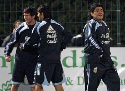 Messi, Agüero y Maradona, en la selección argentina.