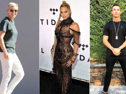 De izquierda a derecha: Ellen DeGeneres, Beyoncé y Cristiano Ronaldo.