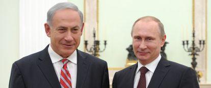 Netanyahu junto a Putin hoy en Moscú.