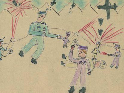 Un dibujo pintado durante la Guerra Civil por la niña de 12 años Cristina Muñoz.