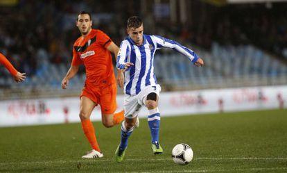 Antoine Griezmann, en el partido de Copa contra el Córdoba jugado esta temporada en Anoeta.