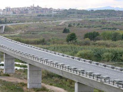 Obras del corredor del Mediterráneo en Perafort (Tarragona).