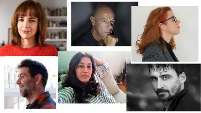 De arriba abajo y de izquierda a derecha, Marta Jiménez Serrano, Borja Ortiz de Gondra, Bibiana Candia, Óscar Martínez, Bibiana Candia, Socorro Giménez y Daniel Remón.