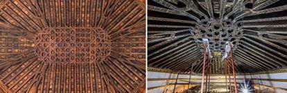 A la izquierda, el artesonado restaurado, a la derecha cuando fue descubierto.