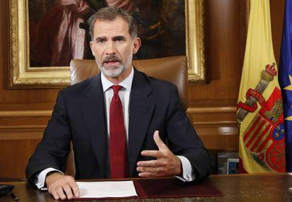 El Rey lee su discurso el 3 de octubre de 2017, dos días después del referéndum ilegal de Cataluña.