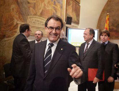 Artur Mas, presidente de la Generalitat, antes de la presentación del primer paso de una Hacienda propia.