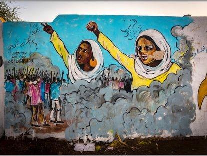 """El mural """"El poder de las mujeres"""" del artista sudanés Musa Wanic."""