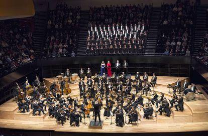 Actuación de la Filarmónica de Berlín el pasado sábado en París.