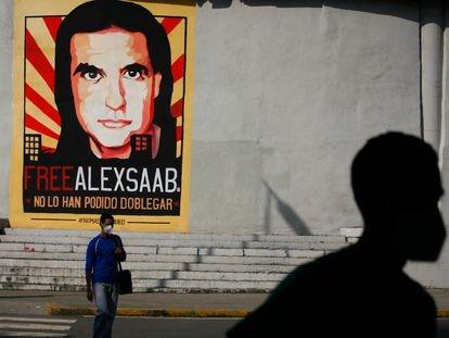 Un cartel a favor de Alex Saab en Caracas, en una imagen tomada el pasado septiembre.