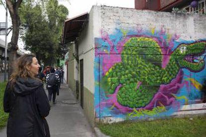 """Grafiti cerca de San Lázaro, en la """"orilla"""" este de Tenochtitlán."""