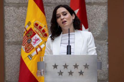 La presidenta de la Comunidad de Madrid, Isabel Díaz Ayuso, en un acto este viernes.