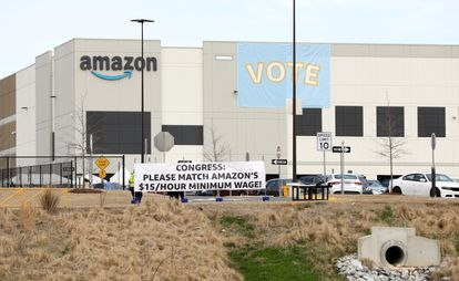 Banners in the Amazon warehouse in Bessemer, Alabama, on March 5.