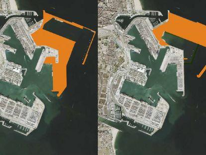 De izquierda a derecha, el proyecto del Puerto de Valencia de 2007 y el anteproyecto de 2018, diseñado por la Comissió Ciutat-Port.