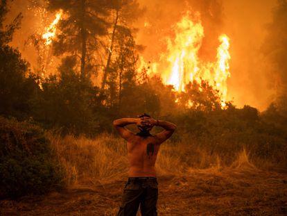 Un vecino de la localidad de Pefki, en la isla de Eubea, observa la llamas de uno de los incendios forestales que golpean a Grecia desde hace días.