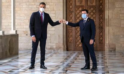 Pedro Sánchez y Pere Aragonès en el Palau de la Generalitat, el pasado día 15.