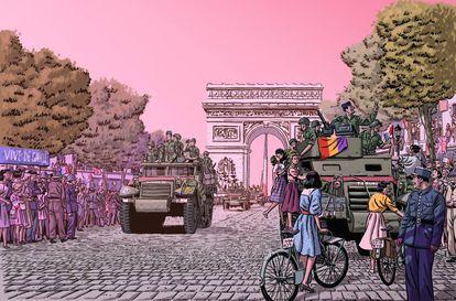 Viñeta de 'Los surcos del azar', que recrea la entrada de La Nueve en París.