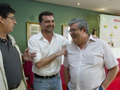 Diego Valderas, Antonio Maíllo y Antonio Romero, en Antequera.
