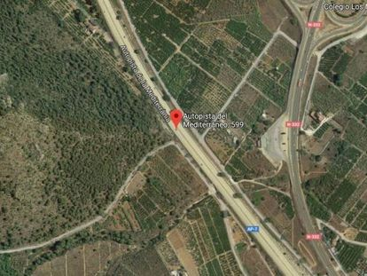 Imagen de Google Maps del lugar de la infracción de velocidad den la AP-7.
