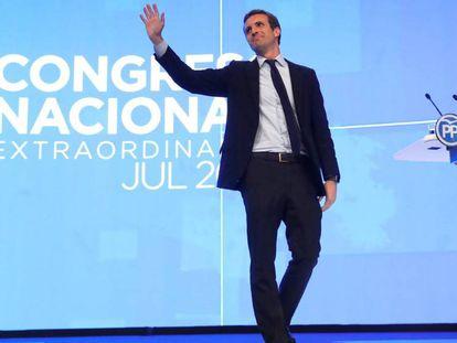 Pablo Casado, tras ser elegido líder del PP en el Congreso Nacional del partido, este sábado.
