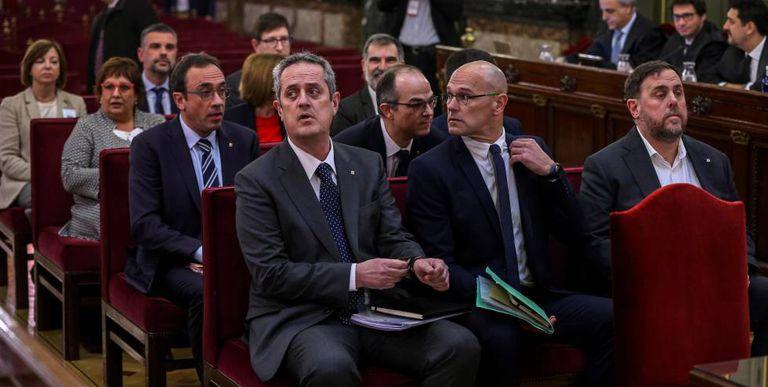 Los líderes independentistas catalanes, durante el juicio del 'procés' celebrado en el Tribunal Supremo.