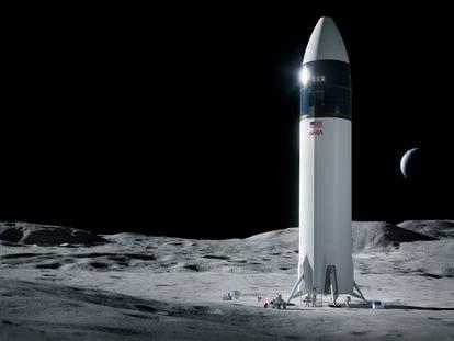 Recreación de la nave SpaceX Starship para llevar astronautas de la NASA a la luna.