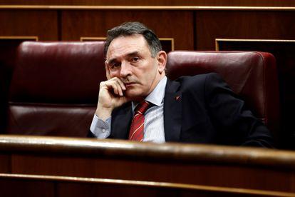 El diputado de Unidas Podemos Enrique Santiago, durante el debate para la prórroga del estado de alarma celebrado el 25 de marzo.