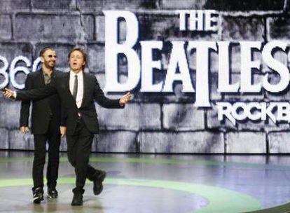 Los Beatles Ringo Starr y Paul McCartney presentan el videojuego 'The Beatles Rock Band'