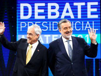 Sebastián Piñera (izquierda) y Alejandro Guillier, el pasado lunes en plató del debate.