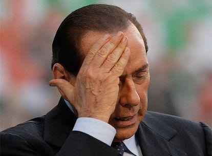 Silvio Berlusconi, en una imagen tomada el 27 de septiembre durante un mitin en Milán.