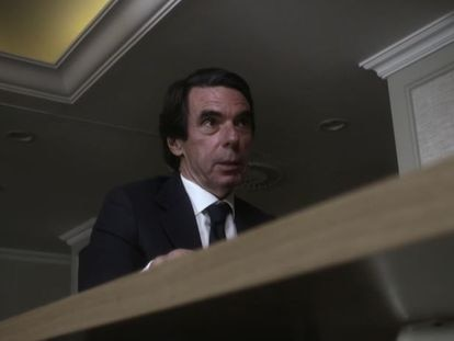 José María Aznar, durante un instante de su entrevista en 'Lo de Évole'.