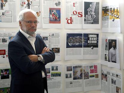Laurent Joffrin, en la sede de 'Libération' en 2015.