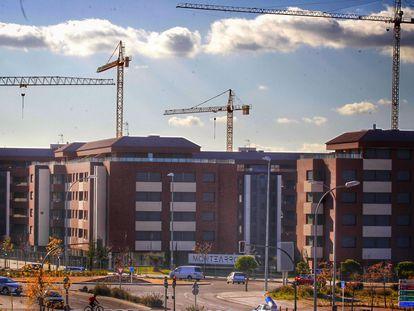 Promoción de viviendas en construcción, en Madrid.