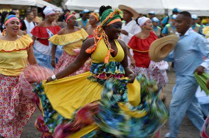 Bailes en el XXI Festival de Música del Pacífico Petronio Álvarez en Cali, el pasado 17 de agosto.