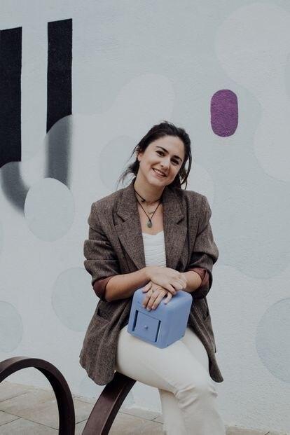 Judit Giró, con su 'bluebox'.