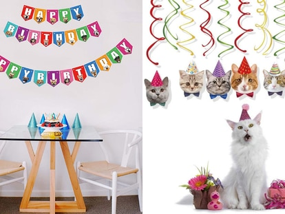 Gorros, banderines, galletas o manteles para festejar a tu mascota