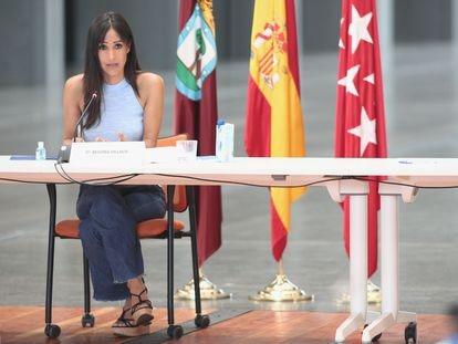 La vicealcaldesa de Madrid, Begoña Villacís durante la presentación del Plan SURES de este martes.