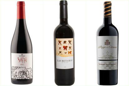 Selección de vinos de Rafael Sandoval: Baltos, Las Retamas del Regajal y Pago de Cirsus.