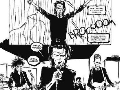 Página del cómic 'Mercy On Me', sobre Nick Cave.
